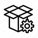 box, cogwheel, gear, parcel, setting