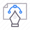 bezier, curve, design, document, file icon