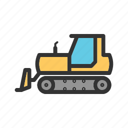 bulldozer, construction, digger, equipment, excavator, heavy, loader icon