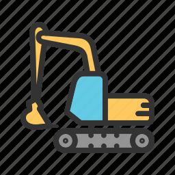 digging, excavation, excavator, machine, mining, sand, vehicle icon
