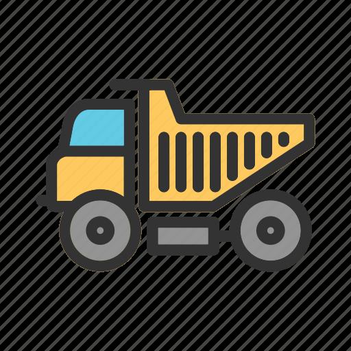 construction, dump, equipment, heavy, site, tipper, truck icon