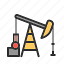 field, industry, oil, petroleum, pump, pumpjack, well icon