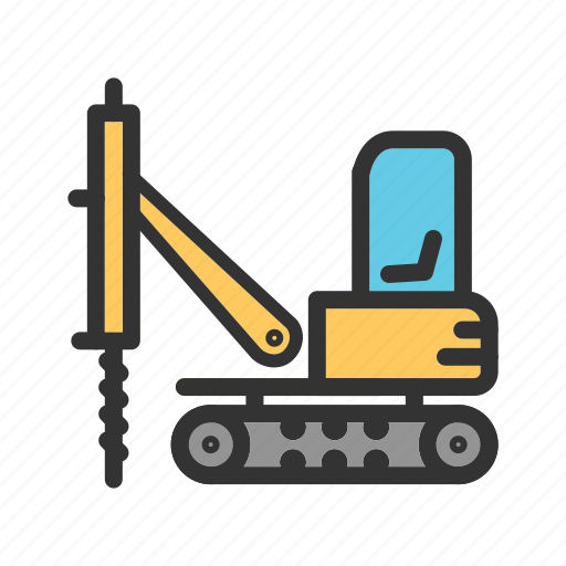 construction, drilling, engineering, equipment, industry, machinery, vehicle icon