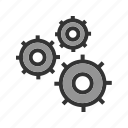 cogwheel, engineering, gear, industry, mechanical, movement, transmission icon