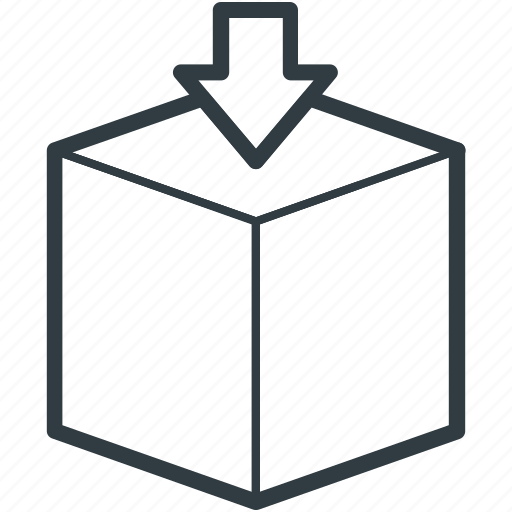 carton box, down arrow, download, packaging icon
