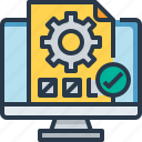 check, computer, management, process, quality, report icon