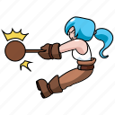 chibi, construction, girl, hammer, industry, wood, wooden icon