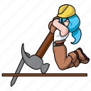 chibi, claw, claw hammer, girl, hammer, industry, nail icon