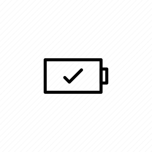 battery, charge, checkmark, full, infinicon, power, tick icon