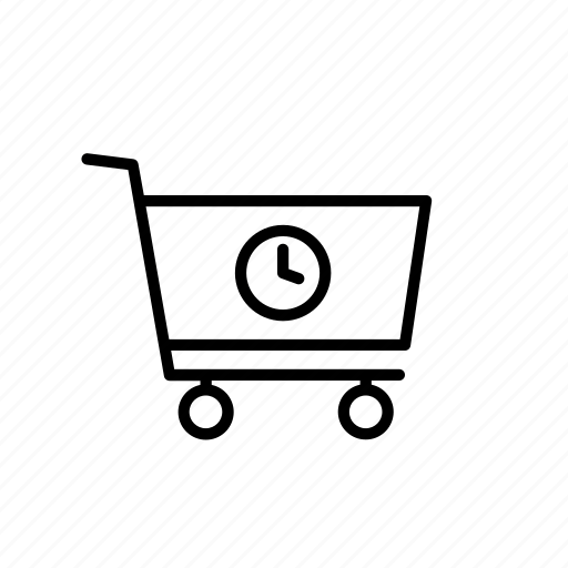 buy, cart, clock, purchase, shop, shopping, time icon