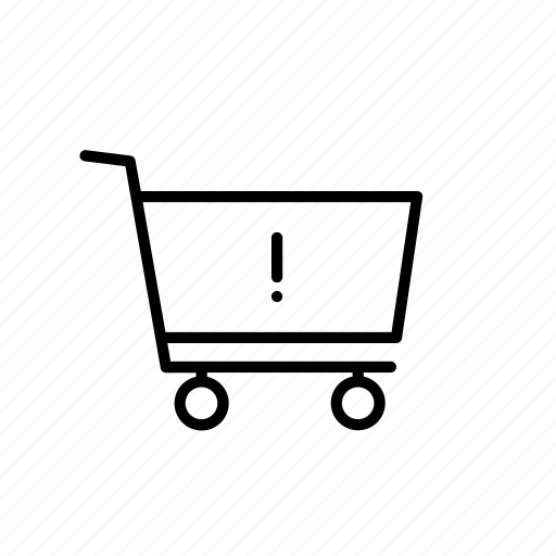 alert, buy, cart, exclamation, shop, shopping, warning icon