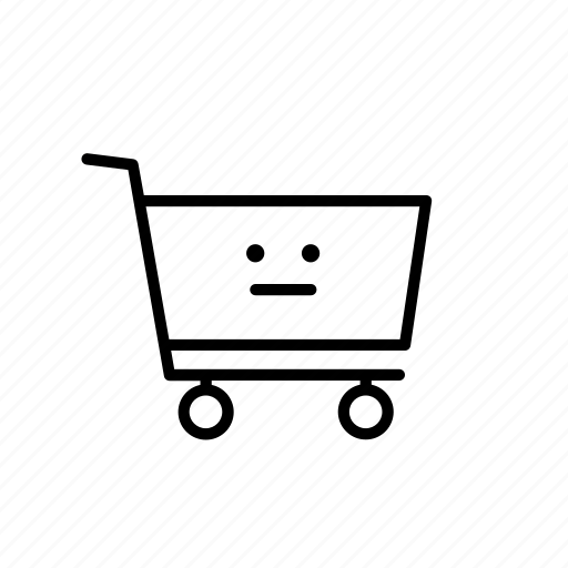 buy, cart, face, neutral, purchase, shop, shopping icon