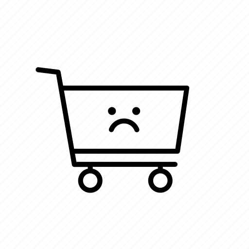buy, cart, sad, shop, shopping, unhappy, warning icon