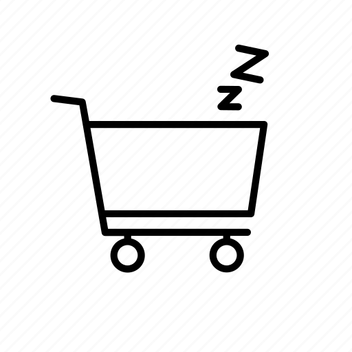 buy, cart, pause, shop, shopping, sleep, snooze icon