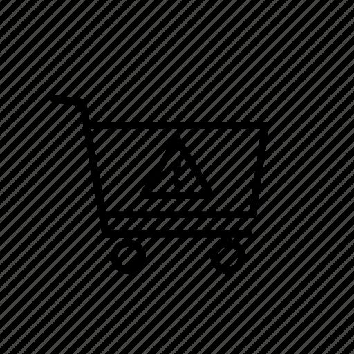 alert, buy, cart, purchase, shop, shopping, warning icon