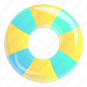 beach, inflatable, ring, striped, summer, water icon