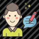 blogger, male, marketing icon