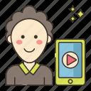 male, marketing, vlogger icon