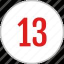 number, thirteen