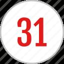 number, 31