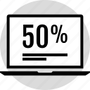 data, fifty, half, infographic, information, percent, seo icon