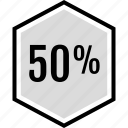 data, fifty, infographic, information, off, percent, seo icon