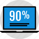 data, infographic, information, laptop, ninety, percent, seo icon