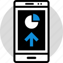 arrow, cell, data, infographic, information, phone, seo icon