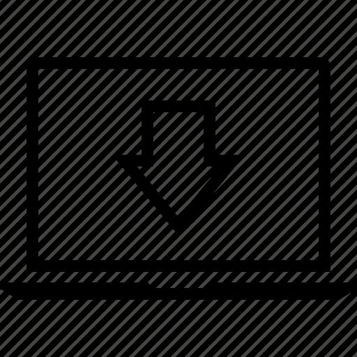 arrow, data, down, graphics, info, laptop icon