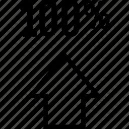 arrow, data, graphics, hundred, info, one icon