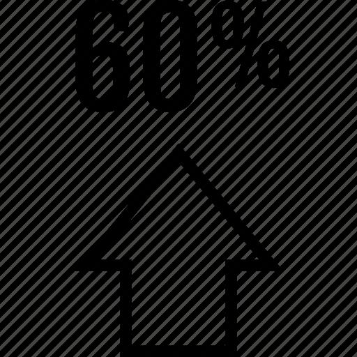 arrow, data, graphics, info, percent, sixty icon