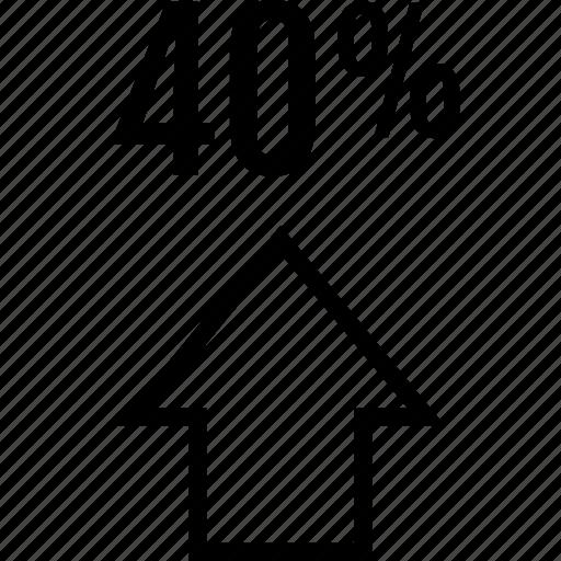 arrow, data, fourty, graphics, info, up icon