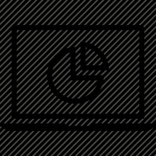 data, graphics, info, laptop, pie icon