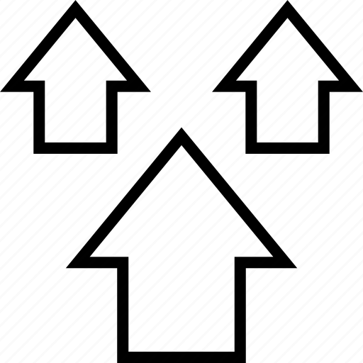 arrows, data, graphics, info, three, up icon