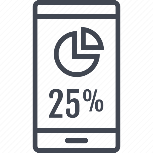data, information, mobile, percent, phone, quarter icon
