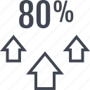 arrows, eighty, percent, up icon