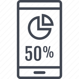 data, fifty, information, percent icon
