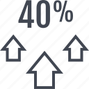 arrows, fourty, percent, up icon