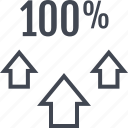 arrows, hundred, one, percent, three, up icon