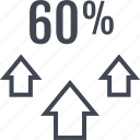 arrows, percent, sixty, three, up icon