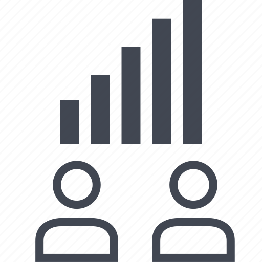 bars, data, information, two, users icon