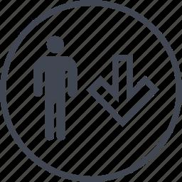 arrow, boss, down, man, person, user icon