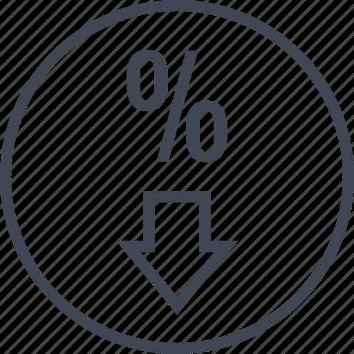 down, percent, rate, revenue icon
