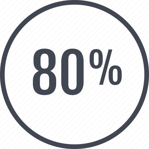 eighty, online, percent, rate, web icon