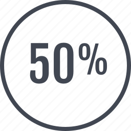 fifty, half, middle, percent icon
