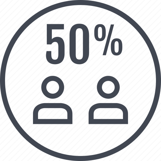 fifty, half, off, percent icon