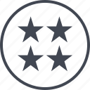 four, rate, rating, stars icon