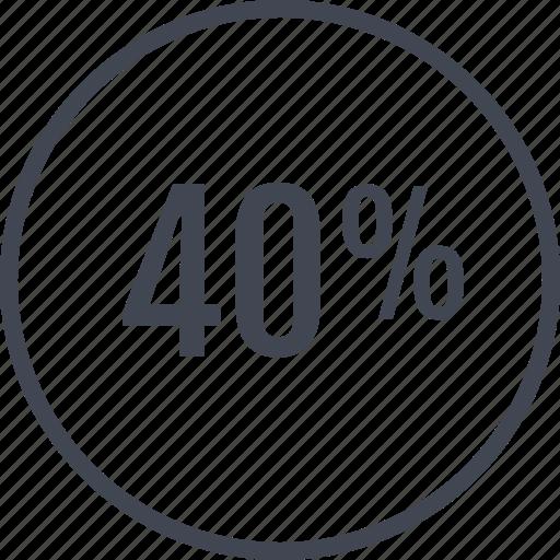 fourty, online, percent, revenue, web icon