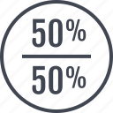 half, off, percent, rate, revenue icon