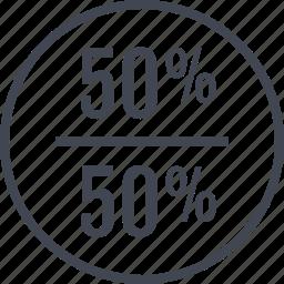 half, off, percent, rate, revenue icon